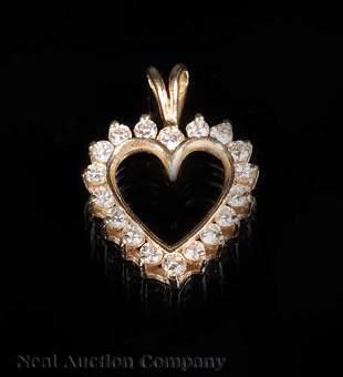 14 kt Yellow Gold and Diamond Heart Pendant