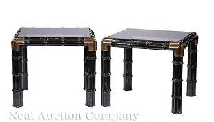 Pair of Black Lacquer Faux Bamboo Tabourettes