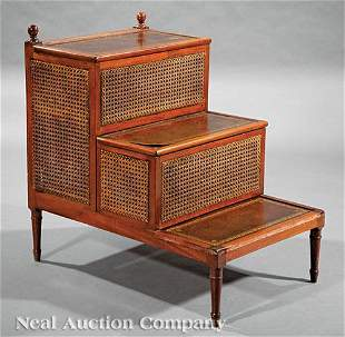 Regency-Style Mahogany and Caned Library Steps