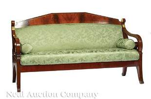 Neoclassical Parcel Gilt Mahogany Settee