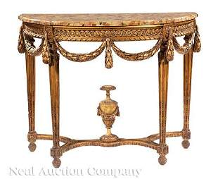 Louis XVI-Style Giltwood Demilune Console Table