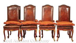 Painted and Parcel Gilt Dining Chairs