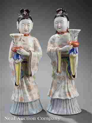 Chinese Famille Rose Porcelain Candle Holders