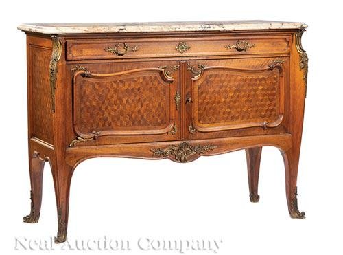Bronze-Mounted Mahogany and Parquetry Commodes