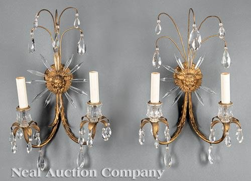 Pair of French Gilt Metal & Cut Crystal Sconces