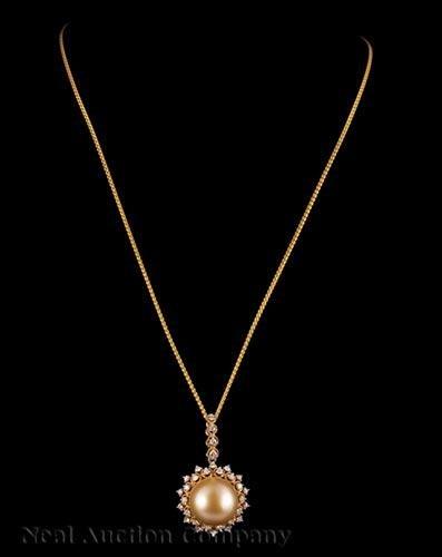 Yellow Gold, South Sea Pearl, Diamond Pendant