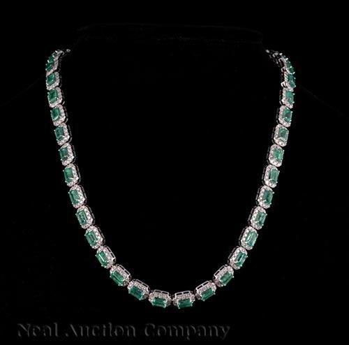 Gold, Emerald, Diamond Flexible Link Necklace