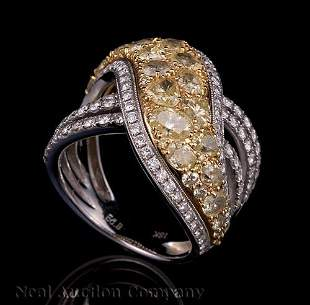 Gold and White and Yellow Diamond Ring