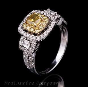 Gold Yellow Diamond and Diamond Ring