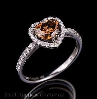Gold Brown Diamond and Diamond Ring