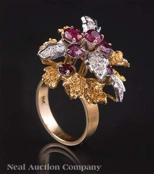 Gold Ruby and Diamond Flower Ring