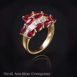 18 kt Yellow Gold Ruby and Diamond Ring