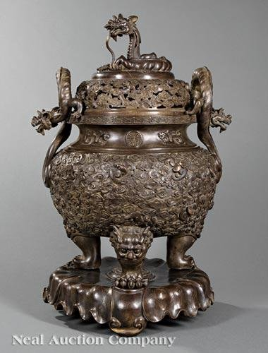 Chinese Patinated Bronze Covered Tripod Censer