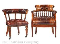 Two English Leather and Carved Mahogany A