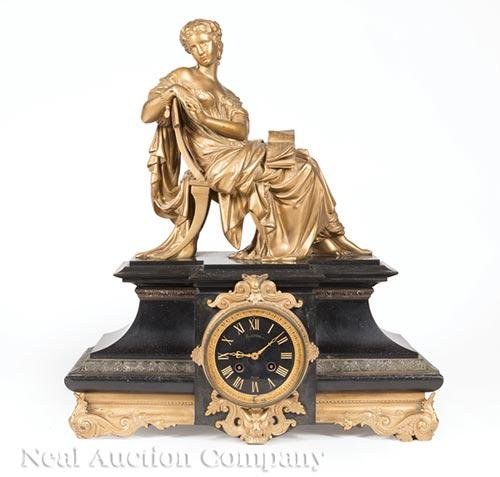 French Gilt Metal and Marble Figural Mantel Clock