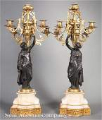 French Gilt Patinated Bronze Figural Canelabra