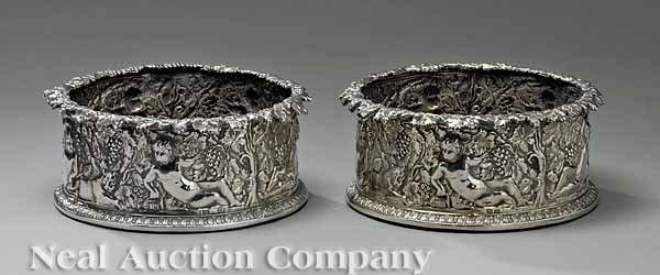 0012: Pair Glamer Sterling Silver Magnum Wine Coasters