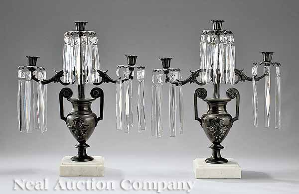 0014: Pair Patinated Bronze and White Marble Candelabra