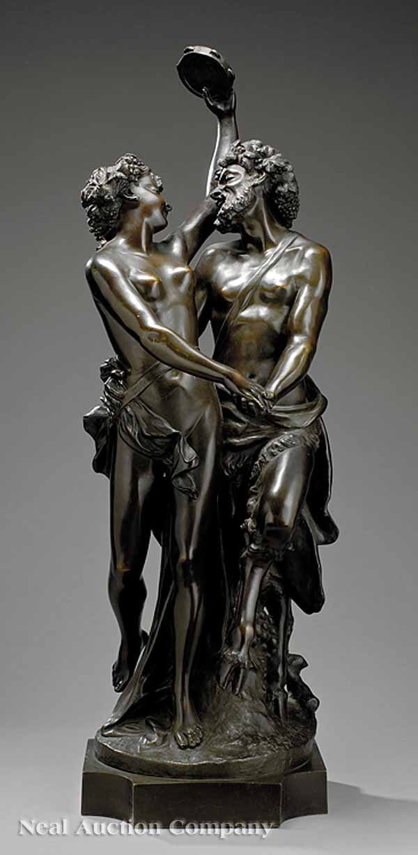 """0015: Continental Bronze Figural Group of """"Bacchantes"""