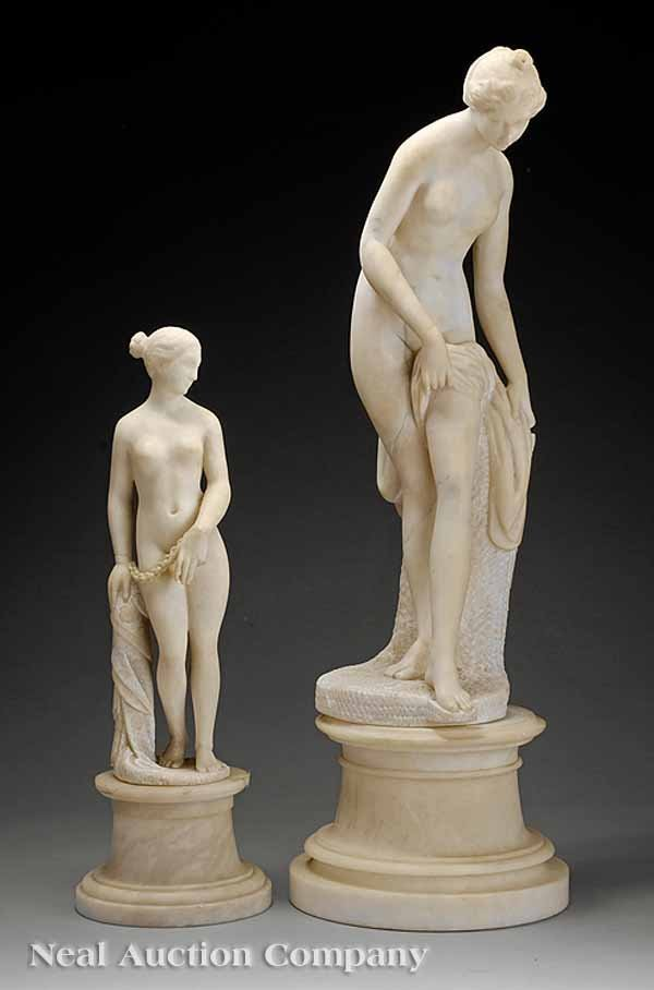 0016: Associated Pair of Continental Marble Figures