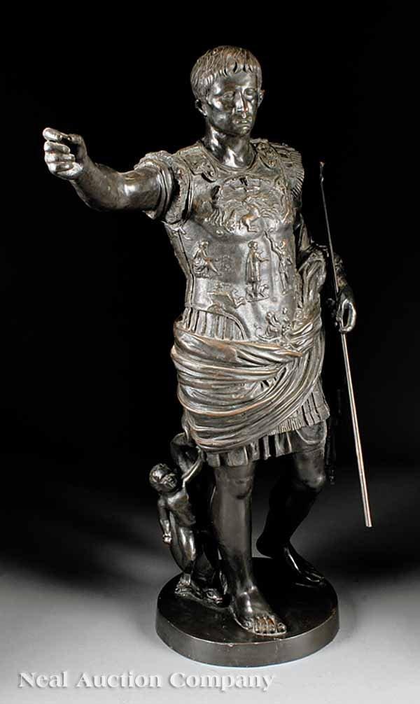 """0018: Patinated Bronze Figure """"Augustus of Prima Porta"""""""