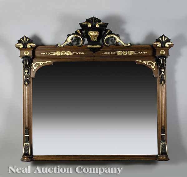 0020: Neo-Grec Ebonized, Gilt Walnut Overmantel Mirror