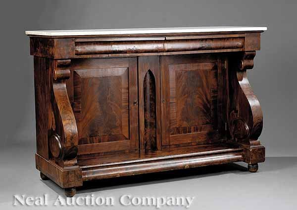 0021: American Classical Carved Mahogany Sideboard