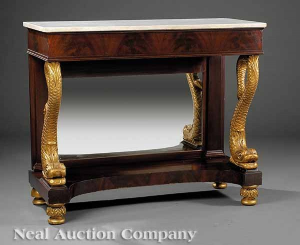 0023: American Carved and Gilded Mahogany Pier Table