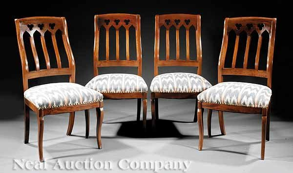 0024: Four American Gothic Mahogany Side Chairs