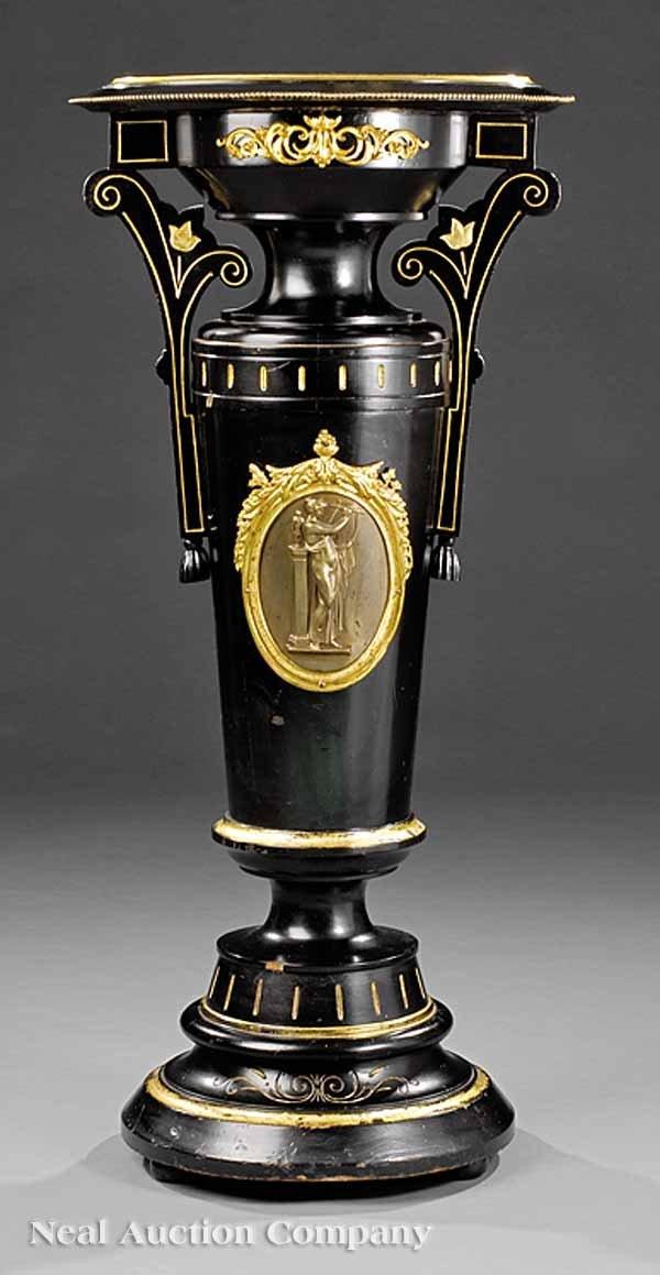 0025: Bronze-Mounted, Ebonized, Gilt-Incised Pedestal