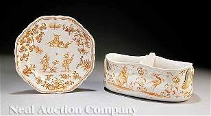 0189: French Faience Plate and Wine-Rinser