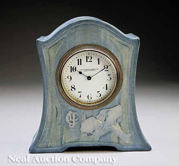 0219: Newcomb College Art Pottery Mantel Clock