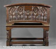 0575: Gothic Revival Carved Oak Cassone on Stand