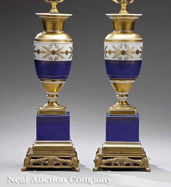 0712: Pair Gilt-Decorated, Cobalt Porcelain Table Lamps