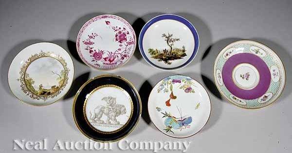0713: Six Meissen Polychrome, Gilt Porcelain Saucers