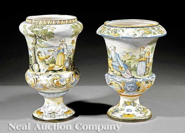 0715: Two Italian Majolica Urns