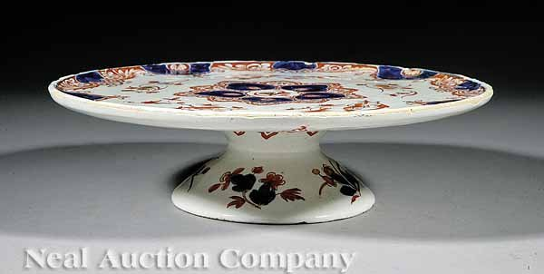 0717: Delft Tin Glazed Footed Cake Plate