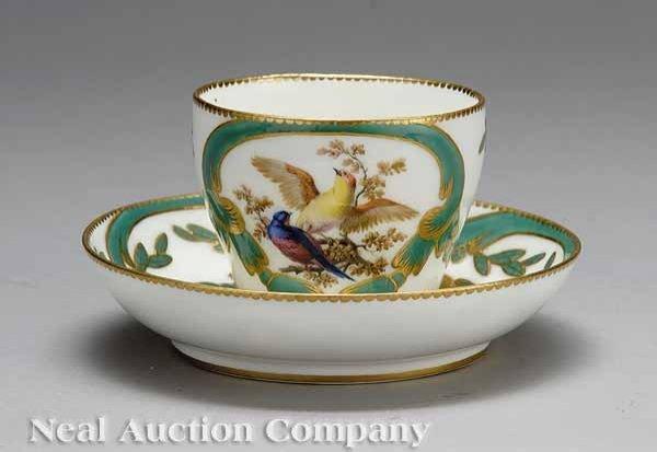 0718: Sevres Polychrome, Gilt Porcelain Cup and Saucer