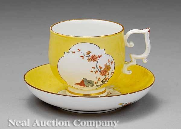 0720: Meissen Porcelain Yellow Ground Cup and Saucer