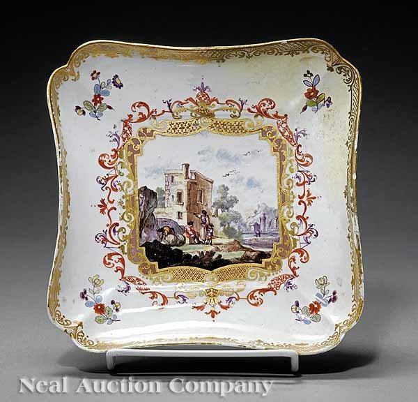 0721: Meissen Polychrome and Gilt Porcelain Square Tray