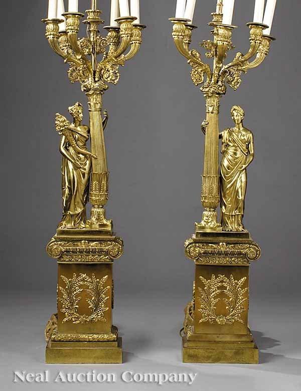 0723: Pair of Polished Bronze Figural Candelabra