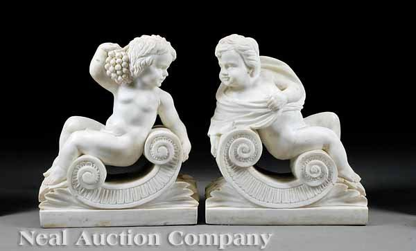0726: Pair of Carved White Carrara Marble Figures