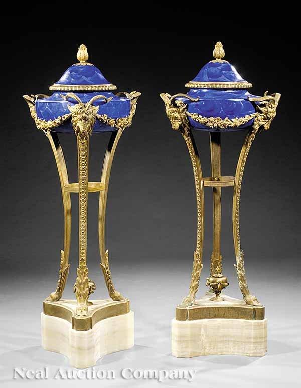 0729: Pair of Bronze and Lapis Lazuli Atheniennes