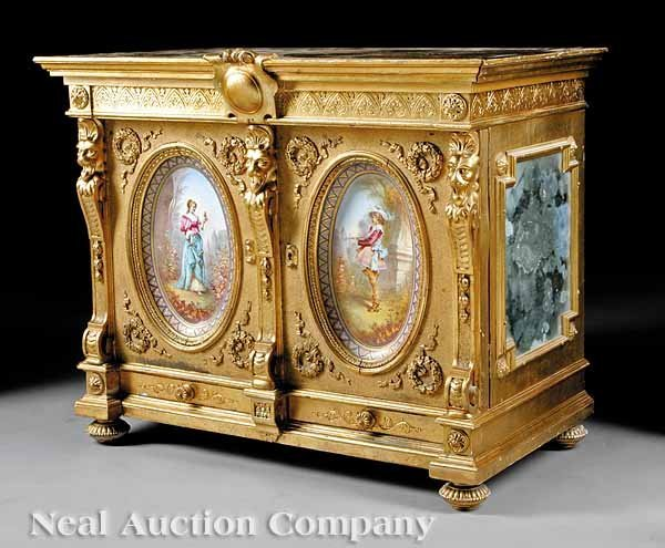 0730: French Painted Side Cabinet