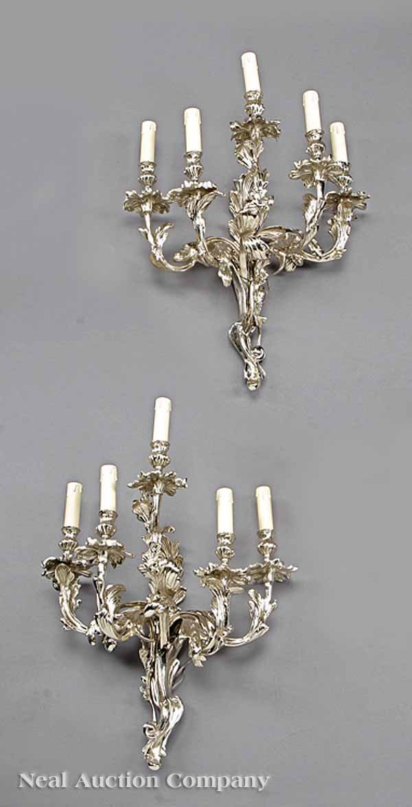 0732: Pair of Louis XV-Style Silvered Bronze Sconces