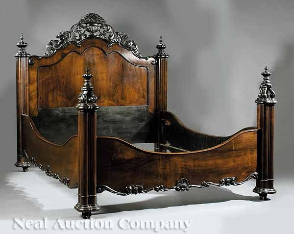0896: American Rococo Carved Rosewood Bedstead