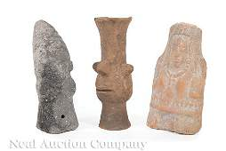 Three PreColumbian Pottery Figures