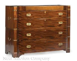 Brass-Mounted Mahogany Bowfront Campaign Chest