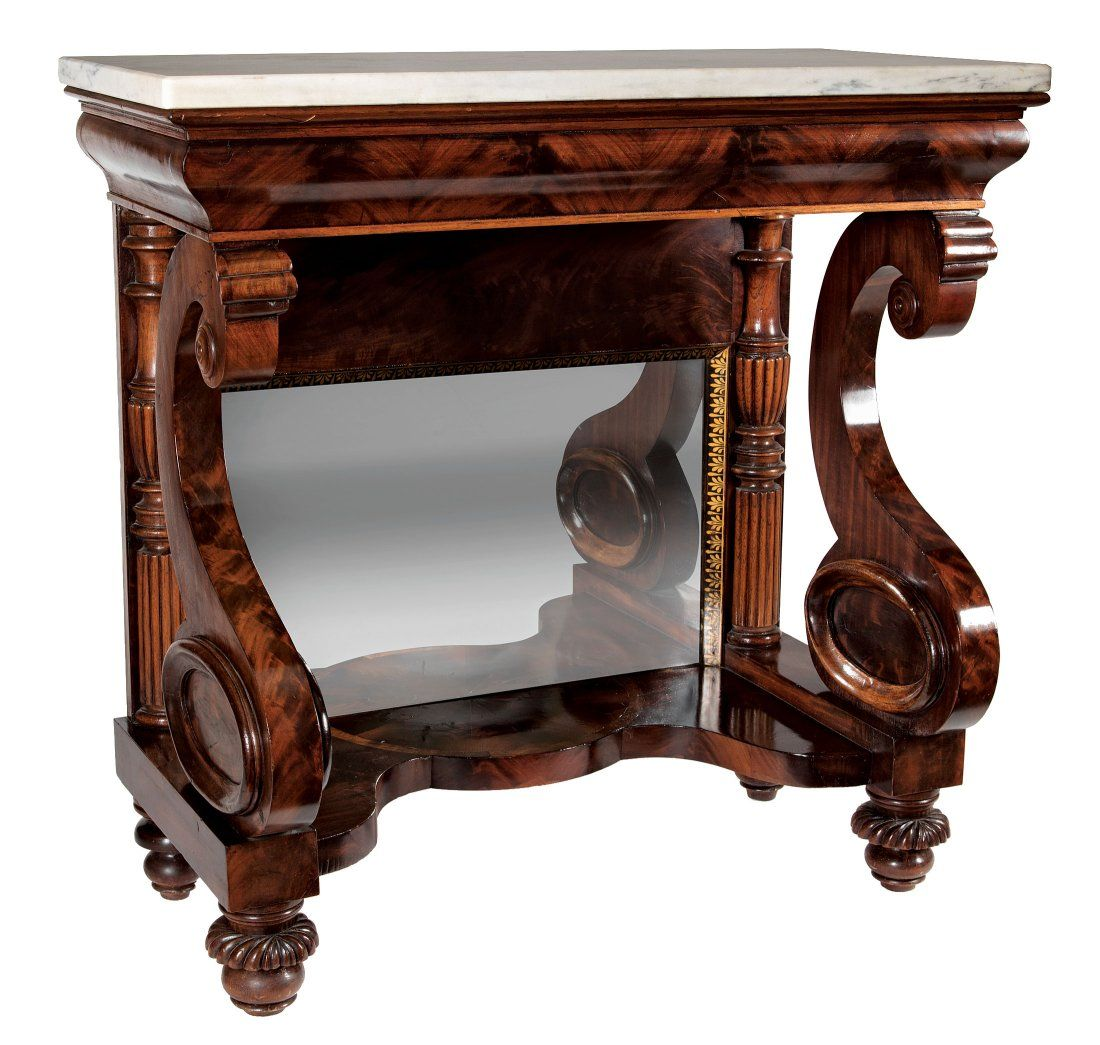 Gilt Stenciled and Inlaid Mahogany Pier Table