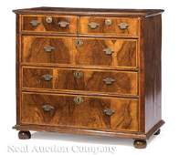 Veneer and Banded Burled Walnut Chest of Drawers